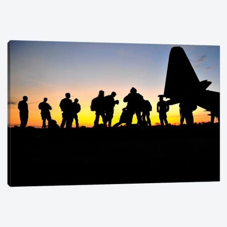 Green Berets Prepare To Board A KC-130 Aircraft Canvas Print #TRK834} by Stocktrek Images Art Print