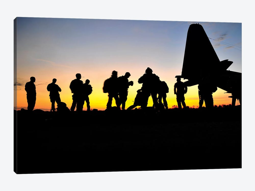 Green Berets Prepare To Board A KC-130 Aircraft by Stocktrek Images 1-piece Canvas Art Print