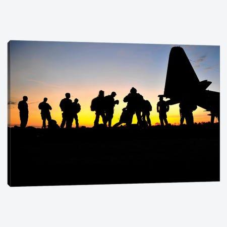 Green Berets Prepare To Board A KC-130 Aircraft Canvas Print #TRK834} by Stocktrek Images Art Print