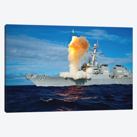 Guided Missile Destroyer USS Hopper Launches A Rim-161 Standard Missile Canvas Print #TRK837} by Stocktrek Images Art Print