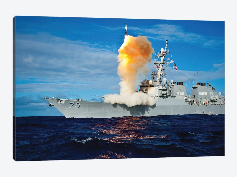 Guided Missile Destroyer USS Hopper Launches A Rim-161 Standard Missile by Stocktrek Images 1-piece Canvas Wall Art