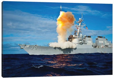 Guided Missile Destroyer USS Hopper Launches A Rim-161 Standard Missile Canvas Art Print