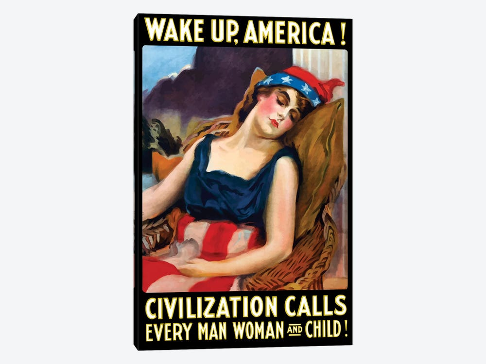 Vintage WWI Poster Of Lady Liberty Sleeping In A Chair by John Parrot 1-piece Canvas Art