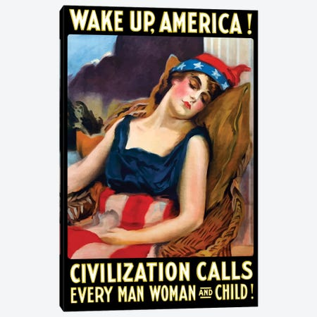 Vintage WWI Poster Of Lady Liberty Sleeping In A Chair Canvas Print #TRK83} by John Parrot Canvas Art
