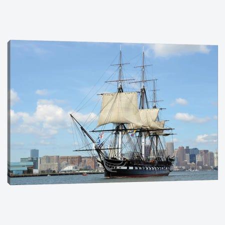 USS Constitution In Boston Harbor Canvas Print #TRK840} by Stocktrek Images Canvas Art Print