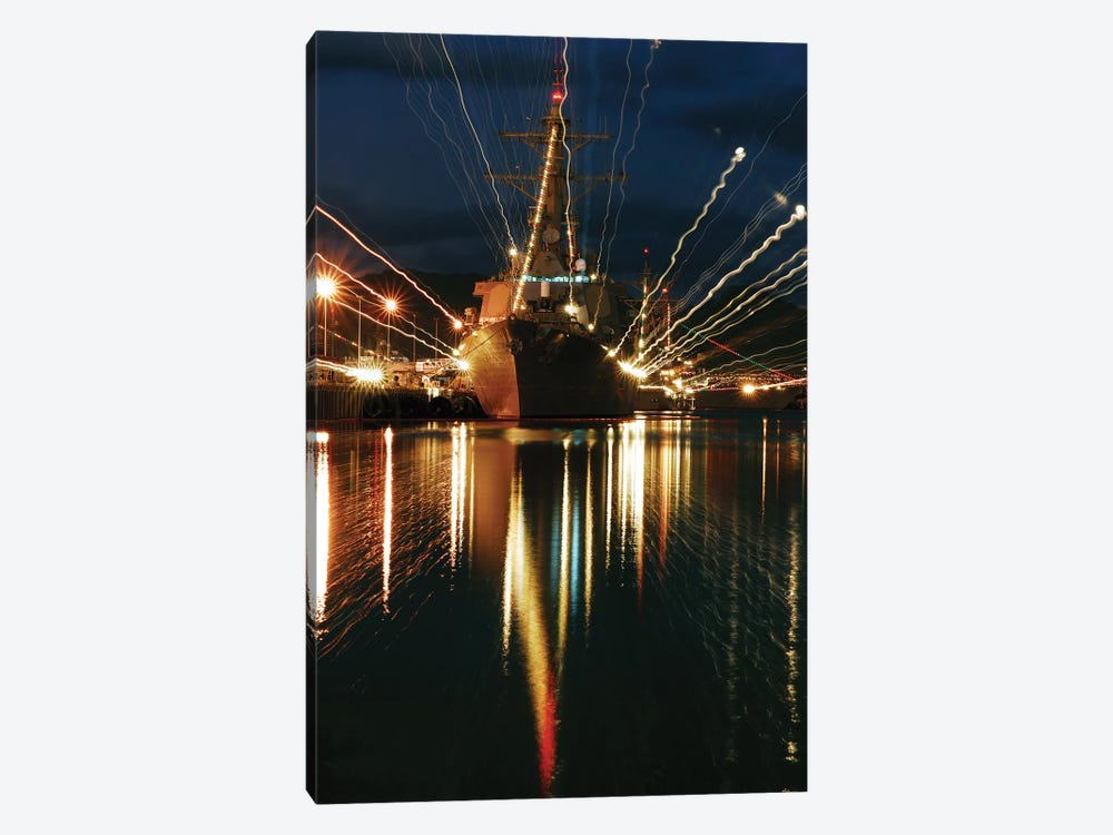 Holiday Lights Shine From Guided-Missile Destroyer USS Russell by Stocktrek Images 1-piece Art Print