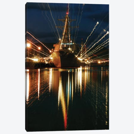 Holiday Lights Shine From Guided-Missile Destroyer USS Russell Canvas Print #TRK841} by Stocktrek Images Art Print