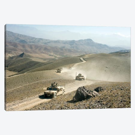 Humvees Traverse Rugged Mountain Roads Canvas Print #TRK842} by Stocktrek Images Canvas Art Print