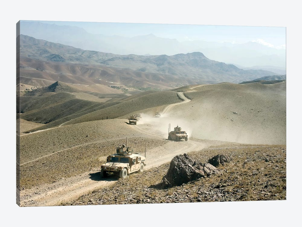 Humvees Traverse Rugged Mountain Roads by Stocktrek Images 1-piece Canvas Art