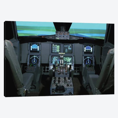 Interior View Of An Aircraft Flight Simulator Canvas Print #TRK843} by Stocktrek Images Canvas Art Print