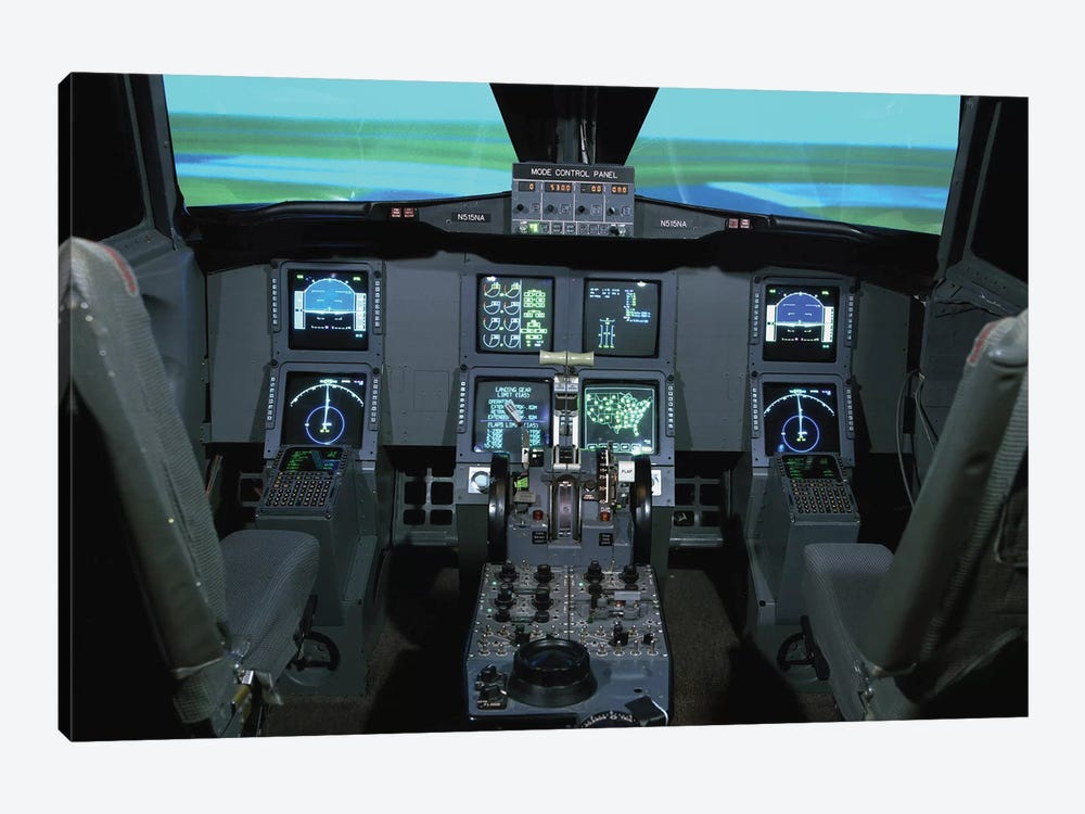 Interior View Of An Aircraft Flight Simulator by Stocktrek Images 1-piece Canvas Art Print