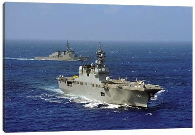 JDS Hyuga Sails In Formation With US Navy And Japan Maritime Self Defense Force Ships Canvas Art Print