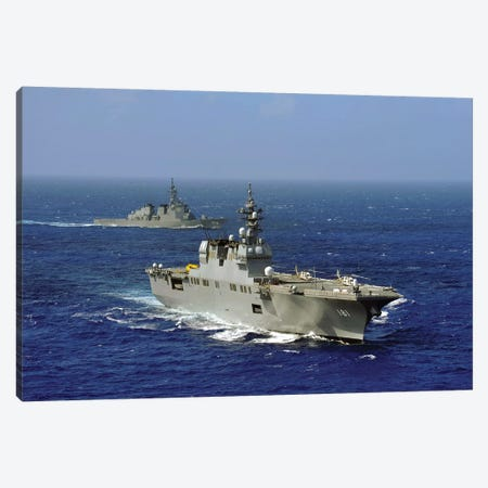 JDS Hyuga Sails In Formation With US Navy And Japan Maritime Self Defense Force Ships Canvas Print #TRK844} by Stocktrek Images Canvas Art
