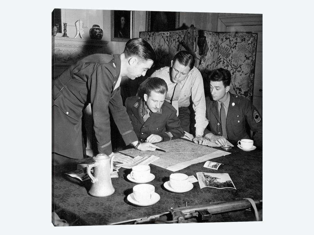 Jedburghs Get Instructions From Briefing Officer In London Flat, England 1-piece Art Print