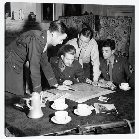 Jedburghs Get Instructions From Briefing Officer In London Flat, England Canvas Print #TRK845} by Stocktrek Images Canvas Wall Art