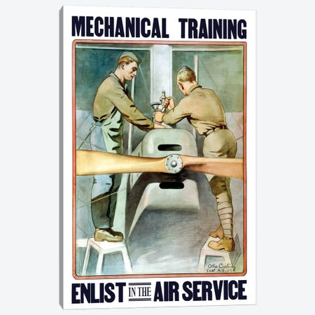 Vintage WWI Poster Of Two Airmen Working On A Plane Canvas Print #TRK84} by John Parrot Canvas Art Print