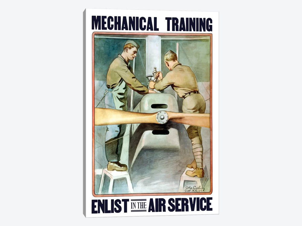 Vintage WWI Poster Of Two Airmen Working On A Plane by John Parrot 1-piece Art Print