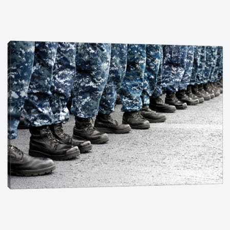 Low Section View Of Sailors Forming Ranks For An Award Ceremony Canvas Print #TRK850} by Stocktrek Images Canvas Artwork