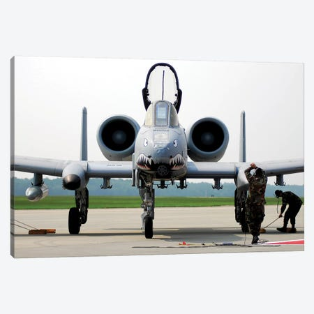 Maintainers Place The Chocks Under An A-10C Thunderbolt II Canvas Print #TRK852} by Stocktrek Images Canvas Artwork