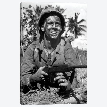 Marine Awaits Signal To Go Ahead In Battle During WWII Canvas Print #TRK853} by Stocktrek Images Canvas Artwork