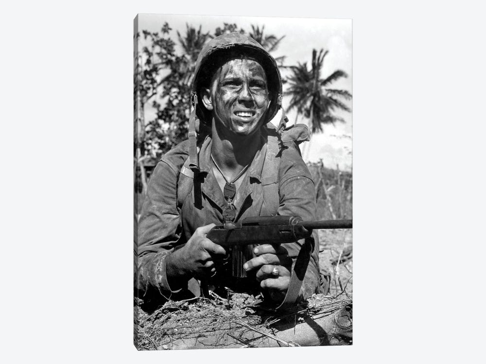 Marine Awaits Signal To Go Ahead In Battle During WWII by Stocktrek Images 1-piece Canvas Artwork