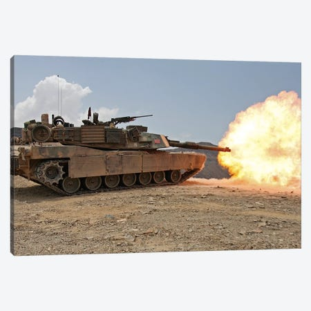 Marines Bombard Through A Live Fire Range Using M1A1 Abrams Tanks I Canvas Print #TRK854} by Stocktrek Images Art Print