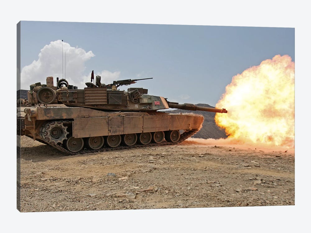 Marines Bombard Through A Live Fire Range Using M1A1 Abrams Tanks I by Stocktrek Images 1-piece Canvas Art Print