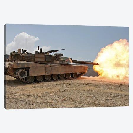 Marines Bombard Through A Live Fire Range Using M1A1 Abrams Tanks I Canvas Print #TRK854} by Stocktrek Images Art Print