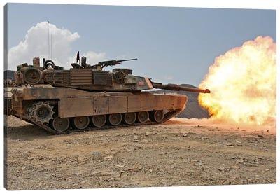 Marines Bombard Through A Live Fire Range Using M1A1 Abrams Tanks I Canvas Art Print