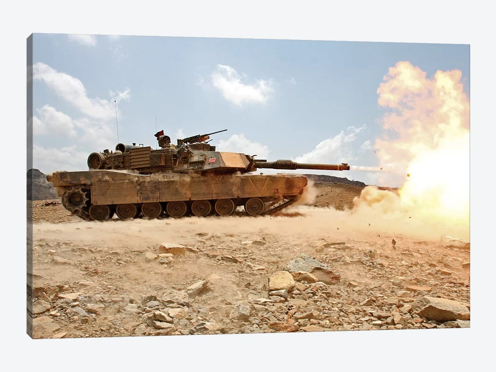 Marines Bombard Through A Live Fire Range Using M1A1 Abrams Tanks II 1-piece Canvas Art