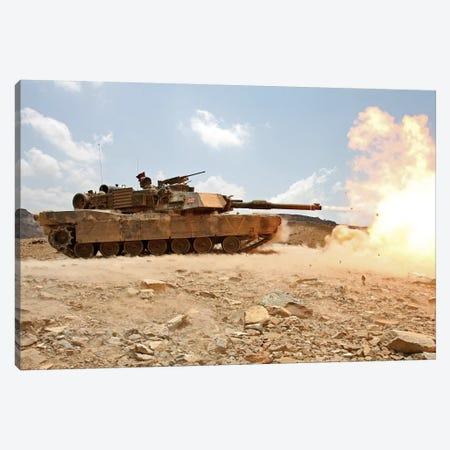 Marines Bombard Through A Live Fire Range Using M1A1 Abrams Tanks II Canvas Print #TRK855} by Stocktrek Images Art Print