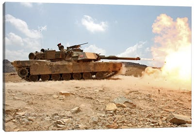 Marines Bombard Through A Live Fire Range Using M1A1 Abrams Tanks II Canvas Art Print