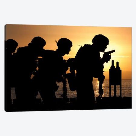 Marines Fire 9mm Handguns On The Flight Deck Of USS Peleliu Canvas Print #TRK856} by Stocktrek Images Art Print