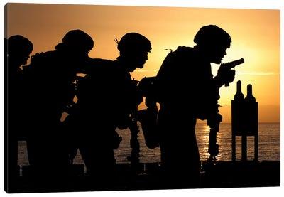 Marines Fire 9mm Handguns On The Flight Deck Of USS Peleliu Canvas Art Print