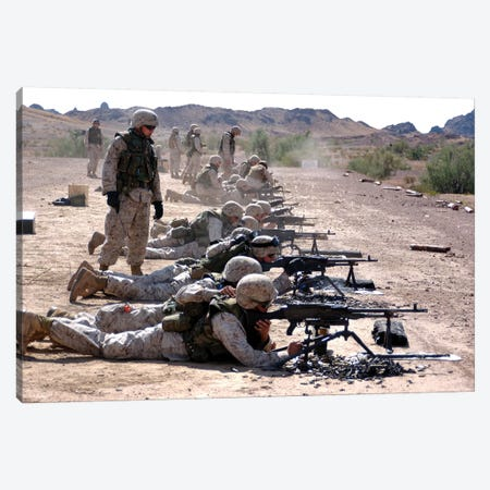 Marines Fire Their M240G Medium Machine Guns And M249 Squad Automatic Weapons Canvas Print #TRK857} by Stocktrek Images Art Print