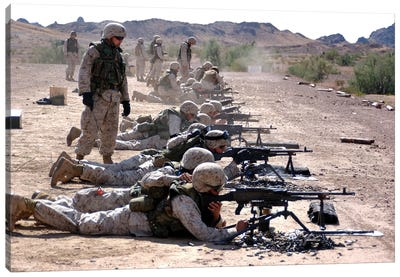 Marines Fire Their M240G Medium Machine Guns And M249 Squad Automatic Weapons Canvas Art Print