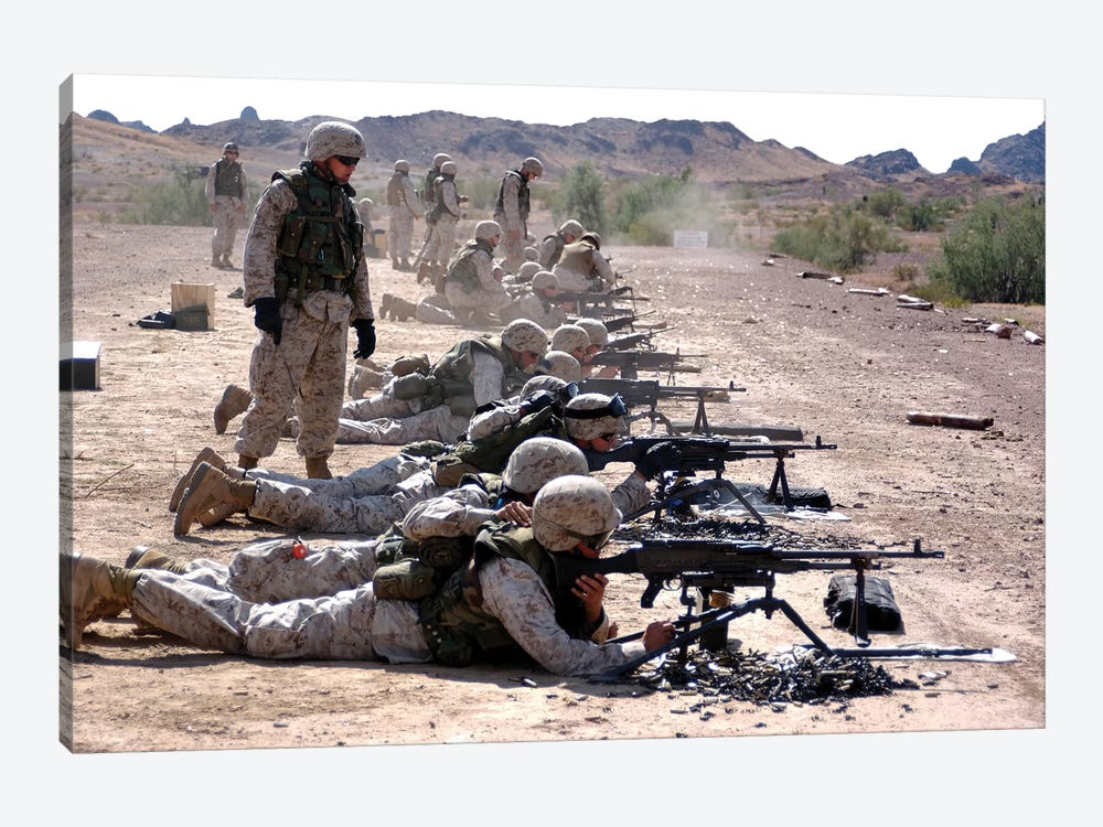 Marines Fire Their M240G Medium Machine Guns And M249 Squad Automatic Weapons by Stocktrek Images 1-piece Canvas Wall Art