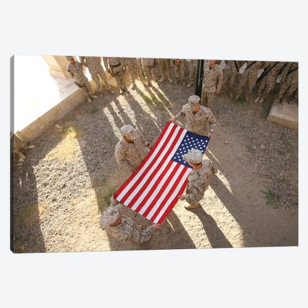 Marines Fold An American Flag I Canvas Print #TRK858} by Stocktrek Images Canvas Wall Art