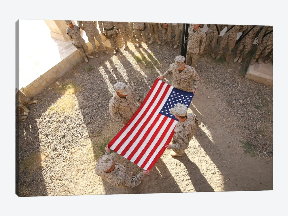 Marines Fold An American Flag I by Stocktrek Images 1-piece Canvas Print