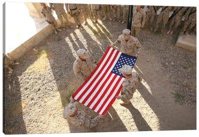 Marines Fold An American Flag I Canvas Art Print