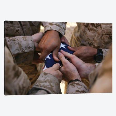Marines Fold An American Flag II Canvas Print #TRK859} by Stocktrek Images Canvas Wall Art