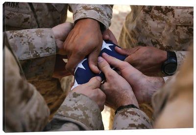 Marines Fold An American Flag II Canvas Art Print