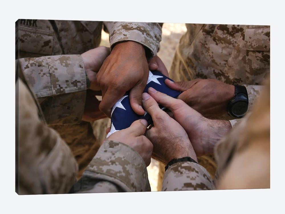 Marines Fold An American Flag II by Stocktrek Images 1-piece Canvas Art