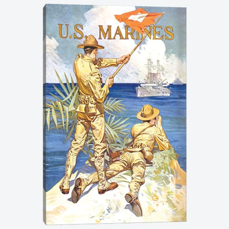 Vintage WWI Poster Of Two Marines Signaling A Ship With A Flag Canvas Print #TRK85} by John Parrot Canvas Print