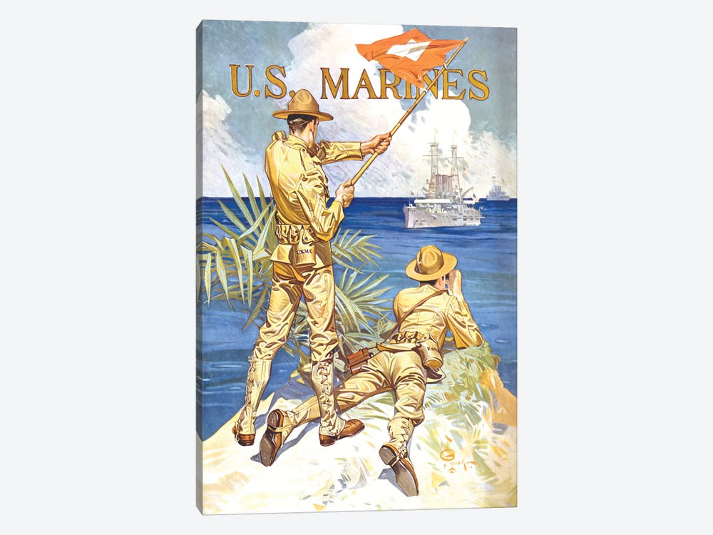 Vintage WWI Poster Of Two Marines Signaling A Ship With A Flag by John Parrot 1-piece Canvas Art