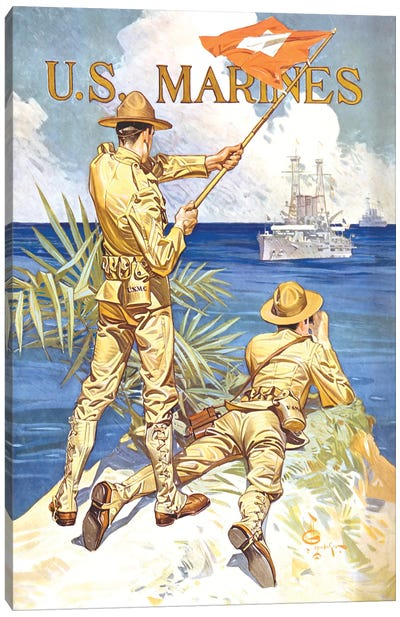 Vintage WWI Poster Of Two Marines Signaling A Ship With A Flag Canvas Art Print