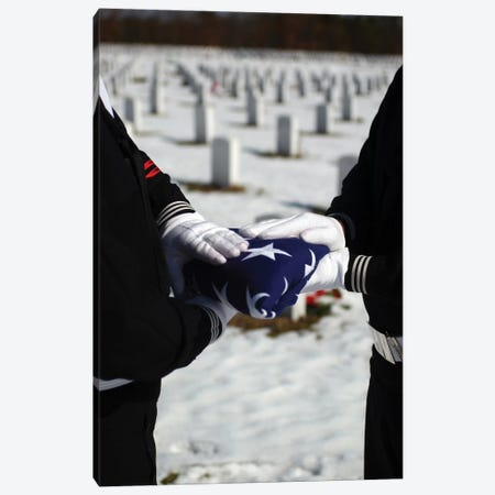 Marines Perform Flag Folding Honors For A Funeral Service Canvas Print #TRK860} by Stocktrek Images Canvas Print