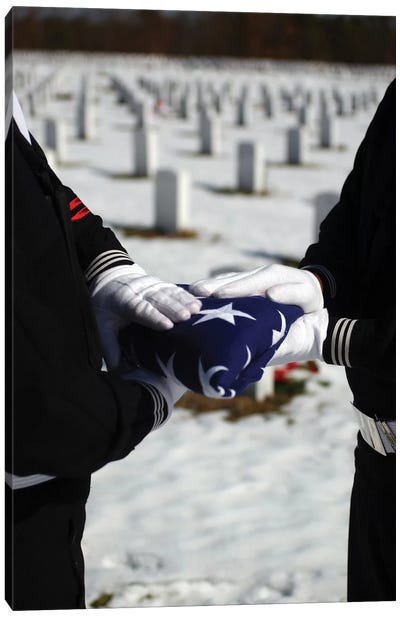 Marines Perform Flag Folding Honors For A Funeral Service Canvas Art Print