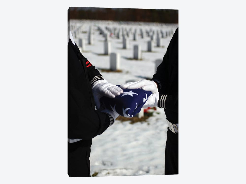 Marines Perform Flag Folding Honors For A Funeral Service by Stocktrek Images 1-piece Canvas Artwork