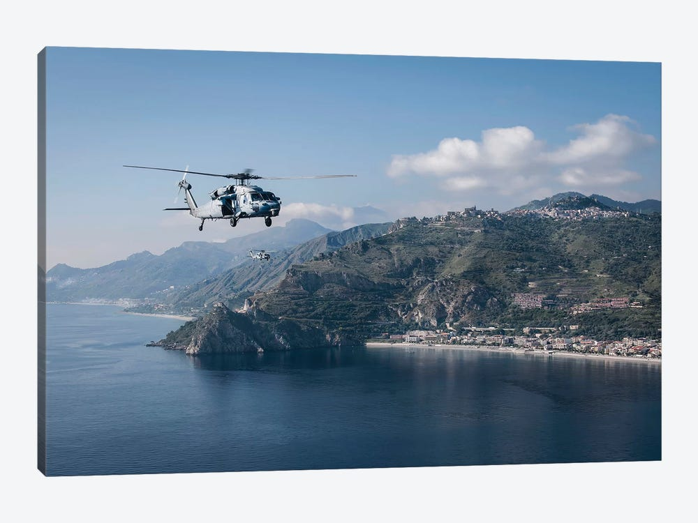 MH-60S Sea Hawk Helicopters Off The Coast Of Naples, Italy by Stocktrek Images 1-piece Canvas Art Print